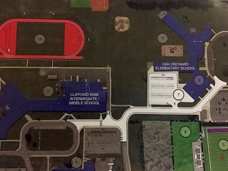 This map of the campus shows where the new access road would go, shifting some traffic from West Oak Orchard Street.