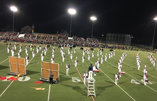 The Medina Marching Band performs at Vets Park. The district is looking to add spaceat the site, and shift the home bleachers to the opposite side of the field and make other changes, including new turf.