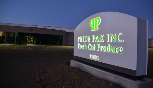 The new Pride Pak is pictured in the evening last month. The site currently has 40 workers and could reach 200 when the the company is at full build-out with two more buildings.