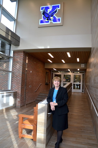 Carol D'Agostino is pictured in the new lobby of the Kendall Junior-Senior High School, following an extensive capital project this year.