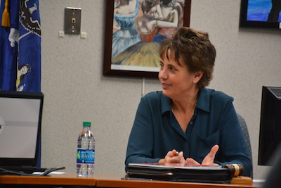 Photo by Tom Rivers: Margy Brown, president of the Albion Board of Education, led today's board meeting which only was attended by three of the nine BOE members.