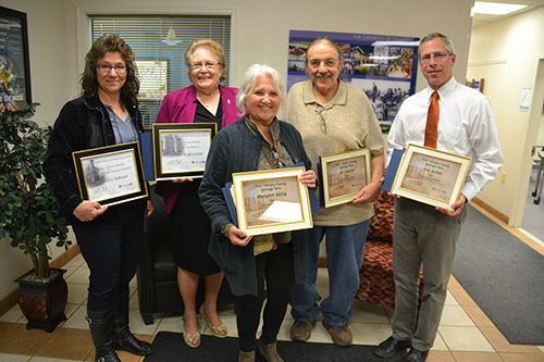 File photo: Five Orleans County residents were honored last April for their efforts to preserve Orleans County history. The group includes from left: Melissa Ierlan, Delia Robinson, Peg Wiley, Al Capurso and Tim Archer.