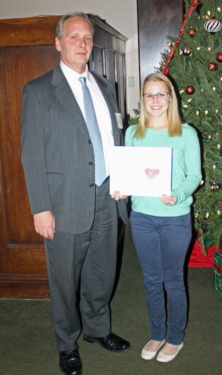 "Provided photo: Desiree Braham is pictured with Martin MacKenzie, Administrator at Orchard Manor Nursing & Rehabilitation Center, after she won a ""Caring Hearts Award"" from the New York State Health Facilities Association."