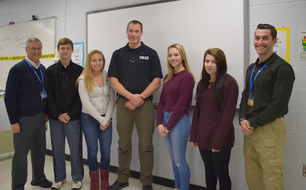 Provided photo: Medina Police Officer Brian Marsceill recently visited with the Security and Law Enforcement classes at the Orleans Career and Technical Education Center. Pictured include, from left: Teacher Gene Newman, Colton Bohall (Royalton Hartland), Hannah Adams (Medina), Officer Brian Marsceill, Lindsay Fulwell (Medina), Elizabeth Keyes (Royalton Hartland) and Teacher Steve Browning.