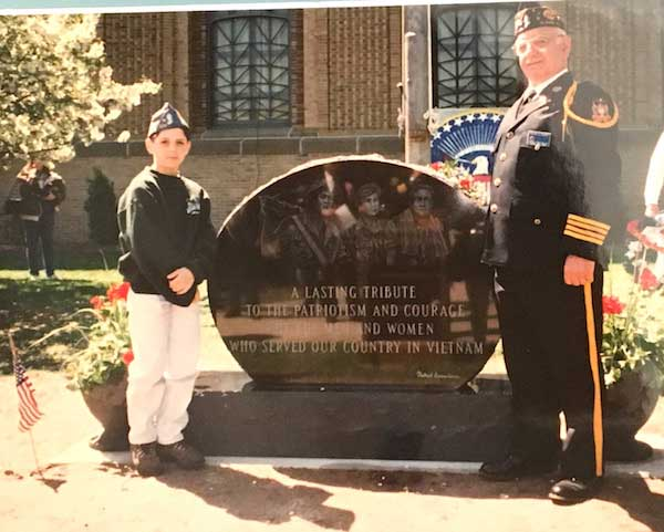 Rocco Sidari is pictured with his grandson Dominick Sidari when a Vietnam War memorial was dedicated in the mid-1990s outside the Albion Middle School.