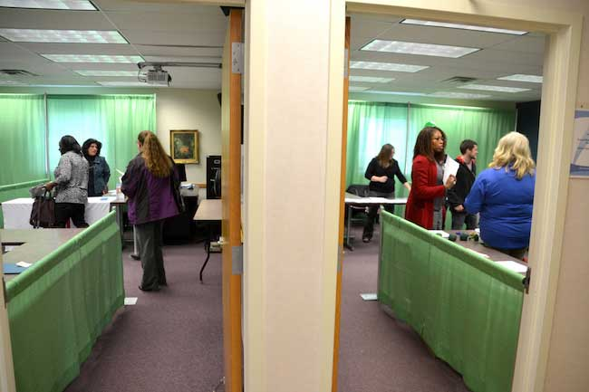 The classrooms at Genesee Community College were used for companies and agencies to present job options to the prospective applicants on Wednesday.