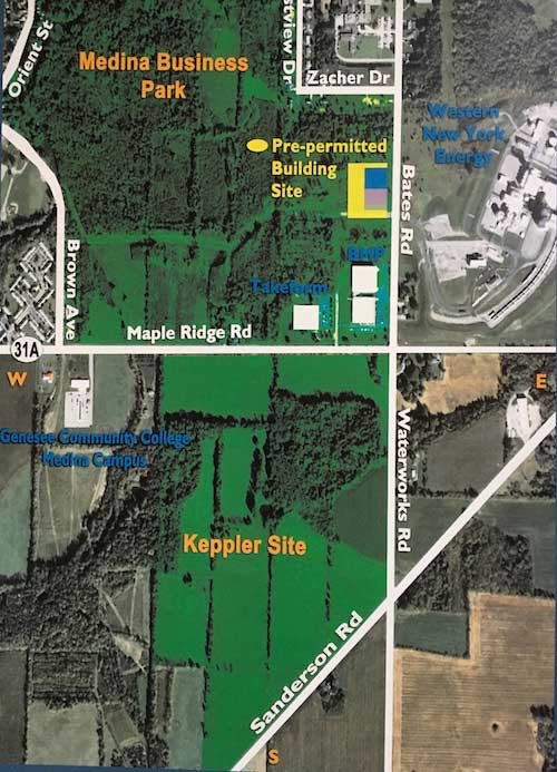 Courtesy of the Orleans EDA: This map shows the 300 acres for the Medina Business Park and the Keppler Site near Maple Ridge Road. The Orleans EDA is looking to combine the land in one large business park.