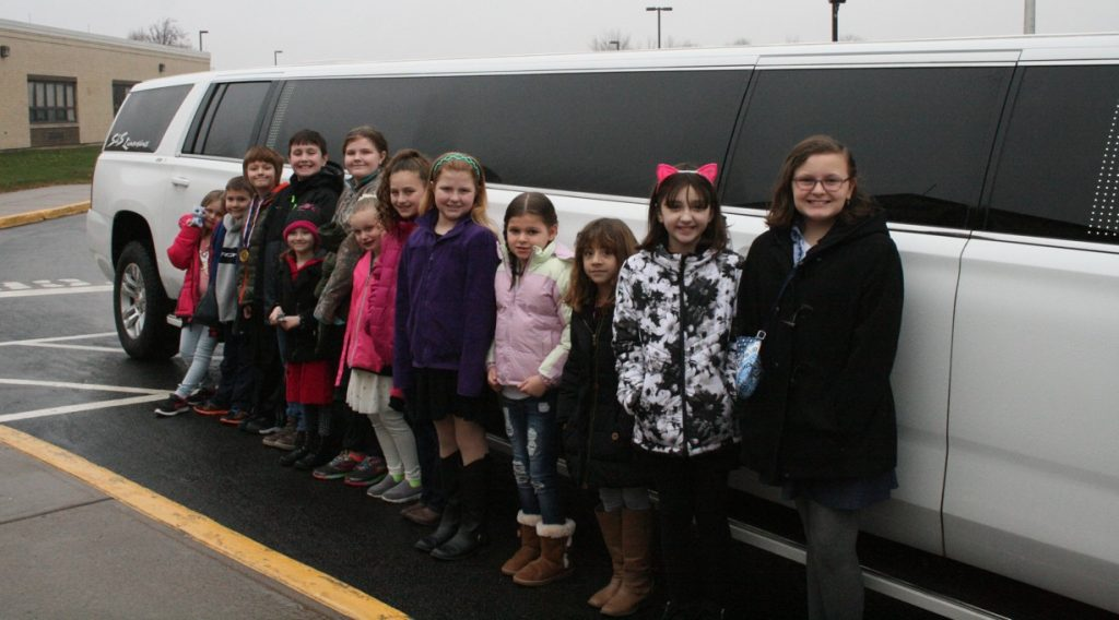 Provided photo: Students received a limo ride on Wednesday as a reward for leading their grade levels in reading.