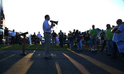 File photo by Tom Rivers: State Sen. Robert Ortt is pictured during a gun rights' rally on Sept. 8, 2014 in Albion before he was elected to the State Senate. That rally was attended by 200 people.