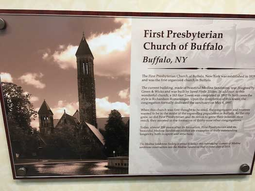 This is the Medina Sandstone Hall of Fame plaque for the First Presbyterian Church of Buffalo. The site was inducted into the Hall of Fame on Oct. 20.