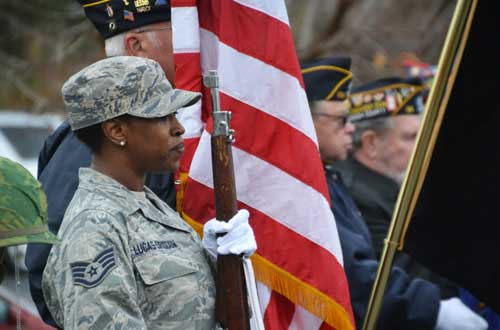 Markeya Lucas-Drisdom of Albion, a veteran of the U.S. Air Force, served in the Honor Guard during a Veterans' Day observance on Nov. 11, 2015 in Albion.
