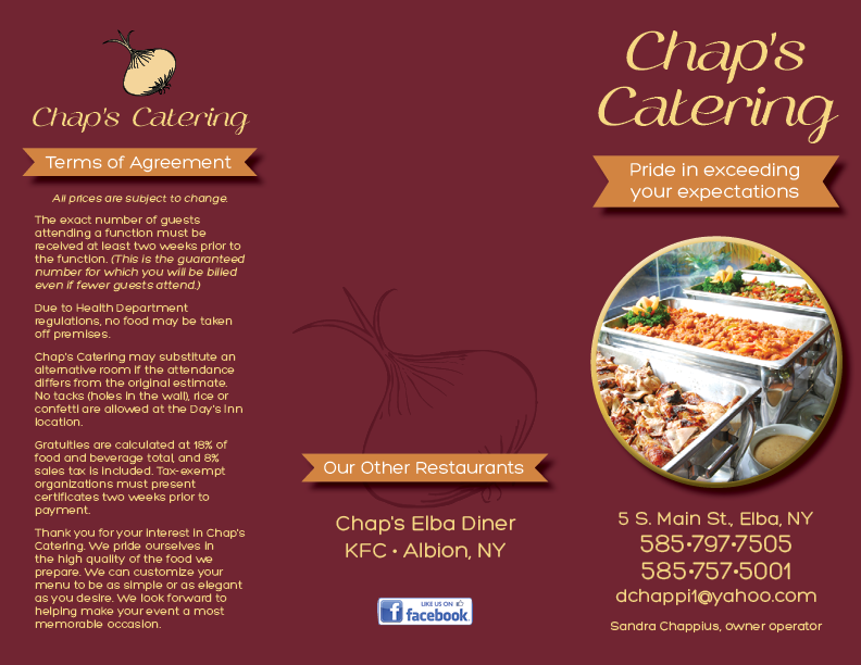 Chap's Catering Menu page one