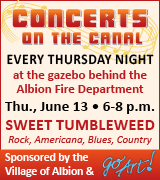 Concert on the canal in Albion 6 p.m. June 13