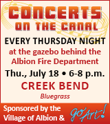 Concert 6 p.m. July 18 at the gazebo behind the Albion Fire Department