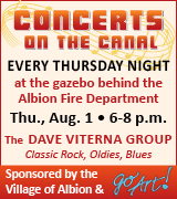 Dave Viterna Group at the gazebo behind the Albion Fire Department 6 p.m. August 1