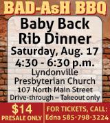 Rib dinner at Lyndonville Presbyterian Church 4:30 p.m. August 17