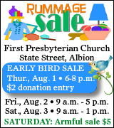 Rummage Sale August 1 to August 3 at Albion First Presbyterian Church