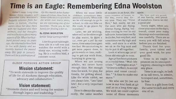 Newspaper article in memory of Edna Woolston