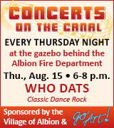 Concerts every Thursday night behind the Albion Fire Department 6 to 8 p.m.