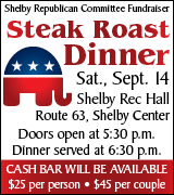 Steak dinner for Shelby Republicans 5:30 p.m. September 14 at Shelby Recreation Hall