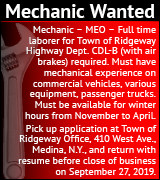 Mechanic wanted for Town of Ridgeway. Apply within.