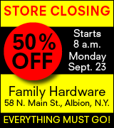 50% off at Family Hardware, Main Street, Albion