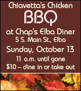 Chiavetta's chicken barbecue at Chap's Elba Diner 11 a.m. October 13