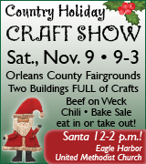 Country Holiday Craft Show at the fairgrounds 9 a.m. November 9
