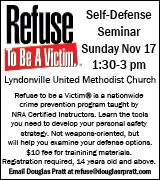RSVP by email to self defense seminar at Lyndonville Methodist Church November 17