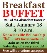 Breakfast buffet 8 a.m. January 18 at Knowlesville Fellowship Hall