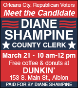Meet and greet Diane Shampine 10 a.m. March 21 at Dunkin' in Albion