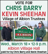 Vote for Barry and Sheehan for Albion Village Trustees on March 18 at Albion Village Hall