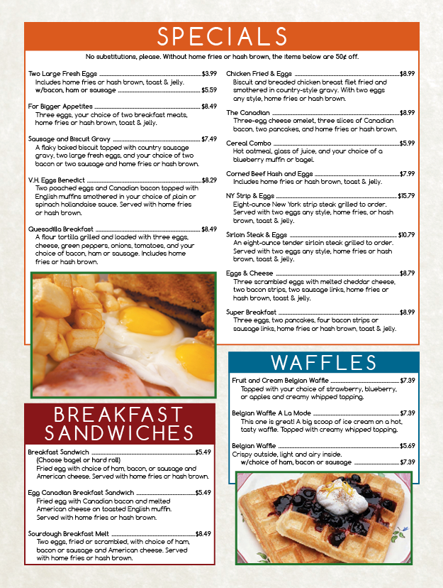 Village House breakfast menu