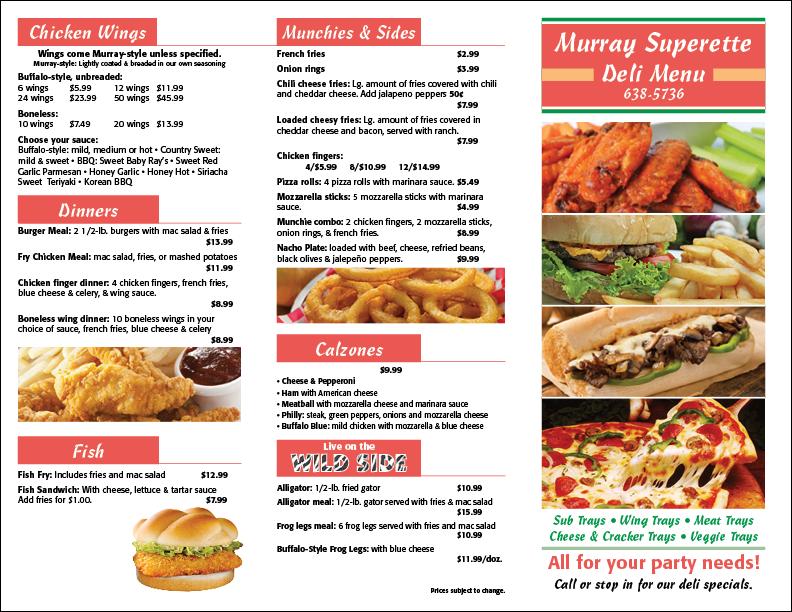 Murray Superette menu page one