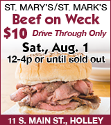 Beef on weck at St. Mary's St. Mark's 12 p.m. August 1