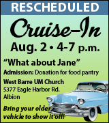 Cruise In at West Barre UMC 4 p.m. August 2
