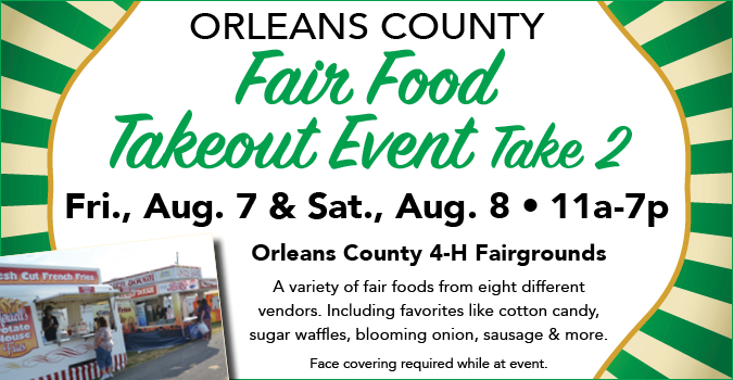 Takeout food at the fairgrounds 11 a.m. to 7 p.m. August 7 and 8