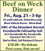 Beef on weck at Knowlesville Fellowship Hall 3 p.m. August 21
