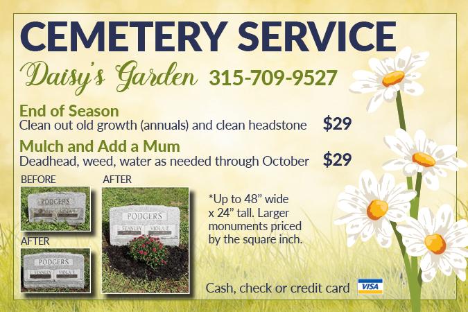 Daisy's Garden cemetery upkeep call 315-709-9527